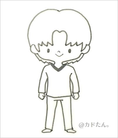 デフォルメイラストポーズ集を見て描いた男性キャラ608-4